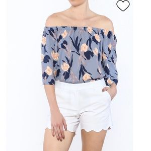 Smell the Roses Off Shoulder Periwinkle Floral Top